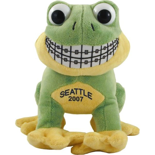Smiling Frog Toy plush green from with braces