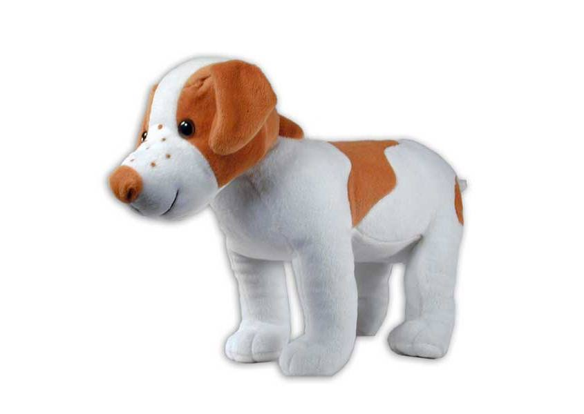 ABR plush tan and white dog with freckles