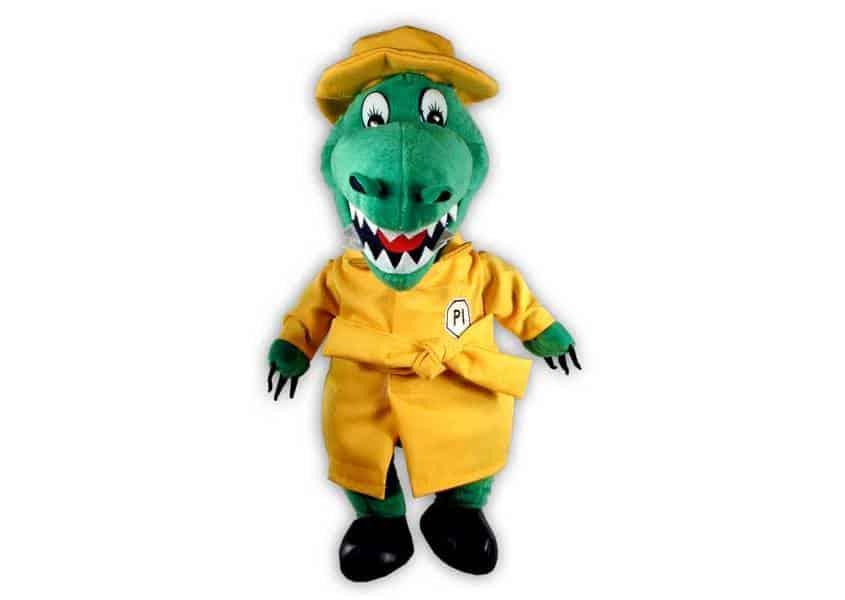 Al E Gator plush green alligator in yellow raincoat