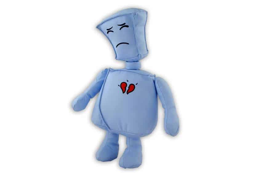 blue sad robot plush with broken heart picture on its chest