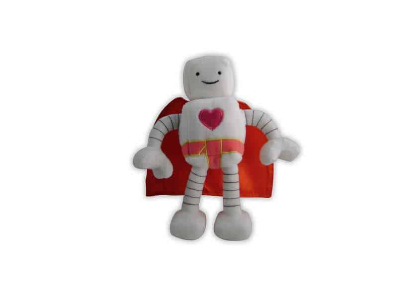 Bambot plush white robot with heart on chest