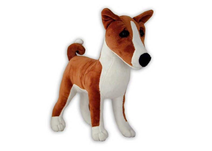 Basenji tan and white plush dog