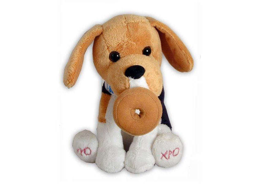 Beagle plush dog with dougnut
