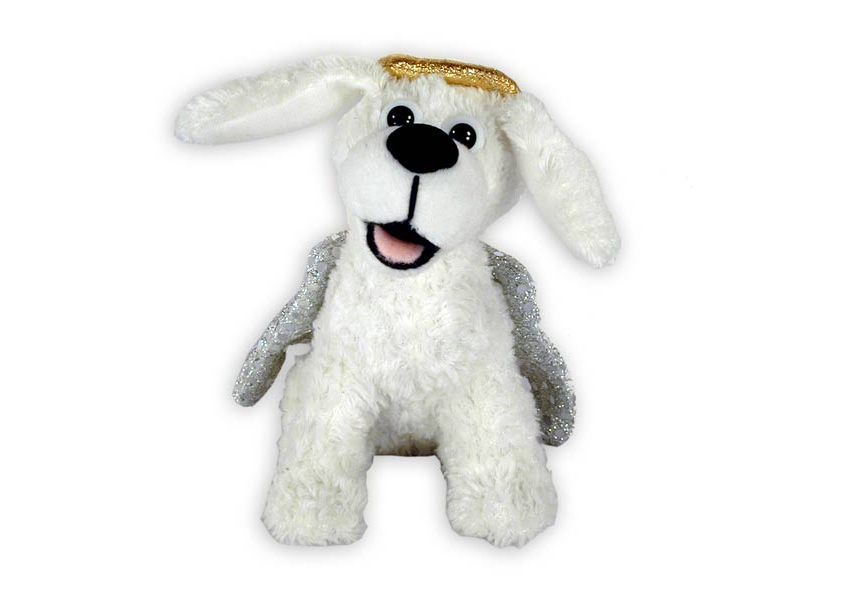 Andre plush white dog with halo and wings