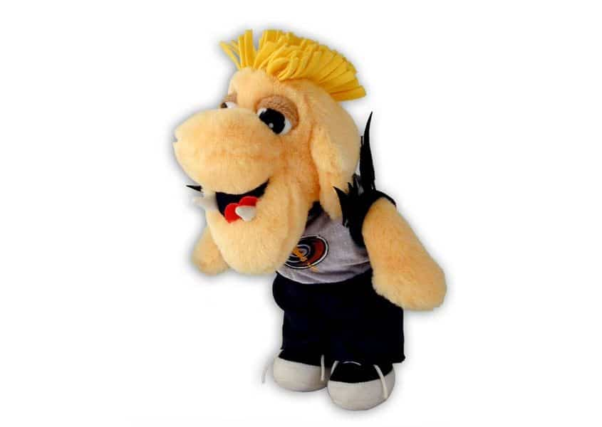 Asher plush dog with mohawk