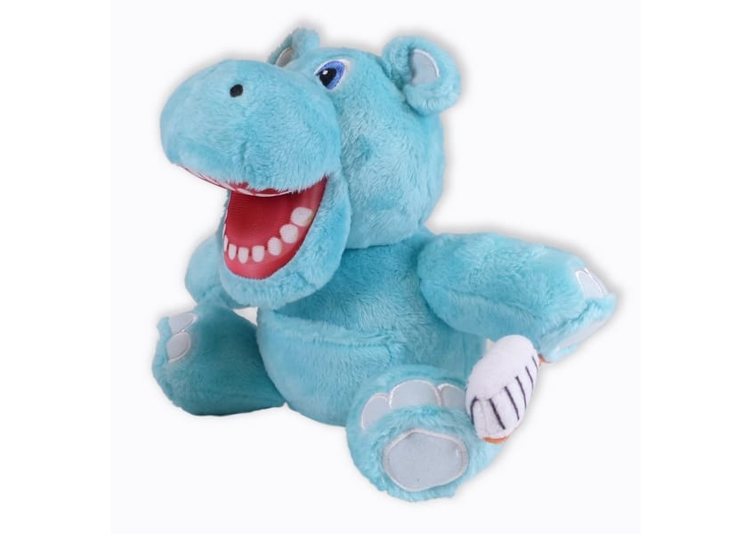 blue Hippo plush with mouth open holding a toothbrush