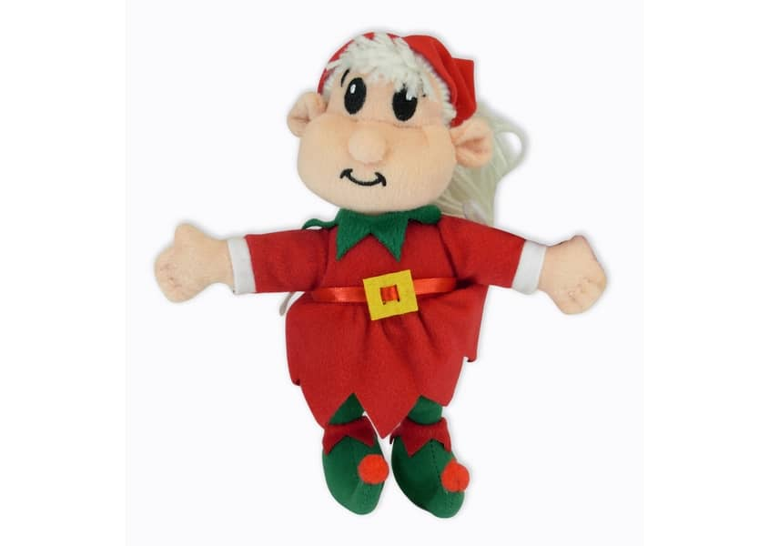 Julie the elf plush doll in a red costume