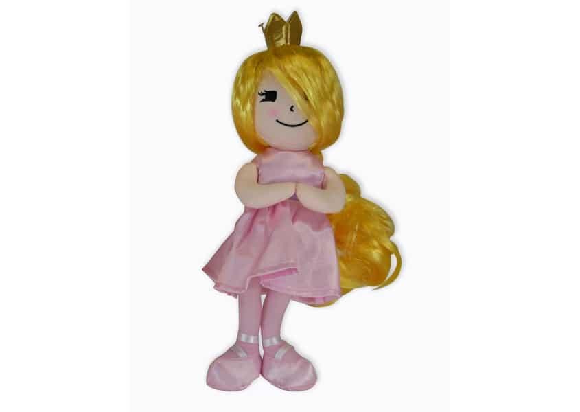 Princess Plie plush doll wearing a crown and a pink dress